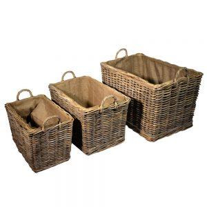 Set of 3 log baskets