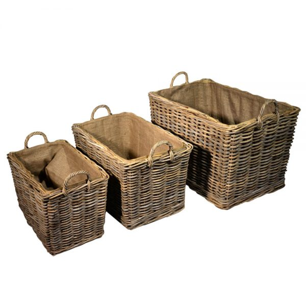 Set of 3 log baskets
