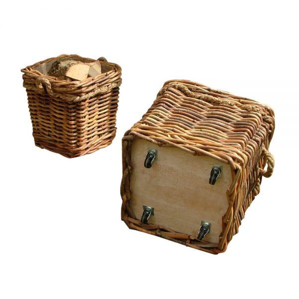 wheeled pair of wood storage baskets