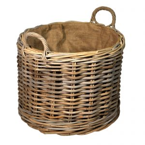 Round wheeled lined wood storage basket
