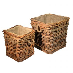 Pair of lined storage baskets