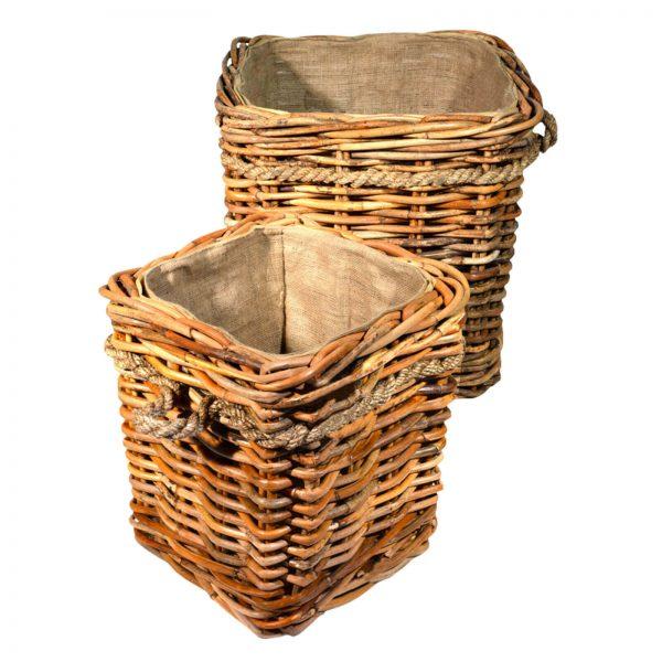 lined wheeled log storage baskets
