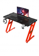 Gaming Table Desk LED Red Stand. Carbon Fibre